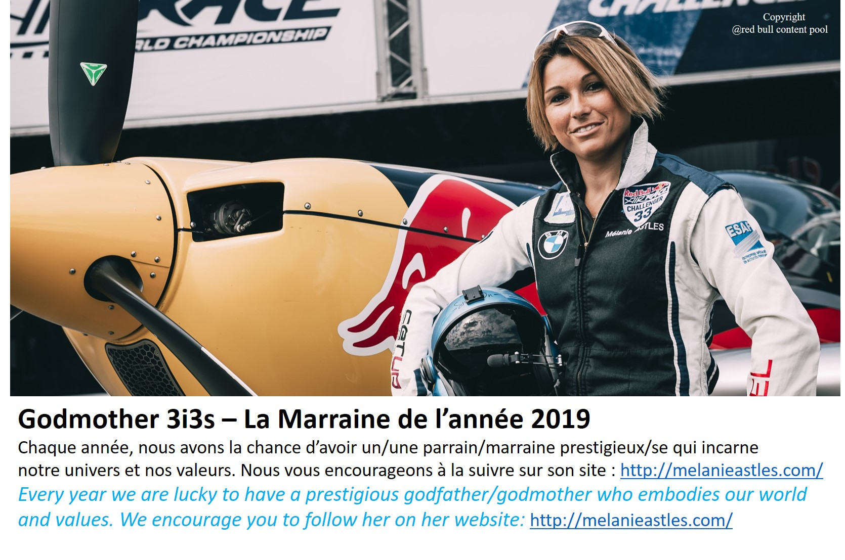 3i3s – MARRAINE / GODMOTHER: Mélanie ASTLES – 2019
